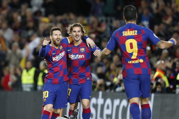 Messi, Griezmann e Suárez, os goleadores da noite.