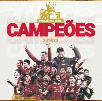 A fotomontagem pelo Liverpool nas redes sociais para comemorar a conquista da Premier League.