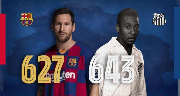 Messi, a 17 gols oficiais de superar Pelé como o maior artilheiro de um mesmo clube / FCB