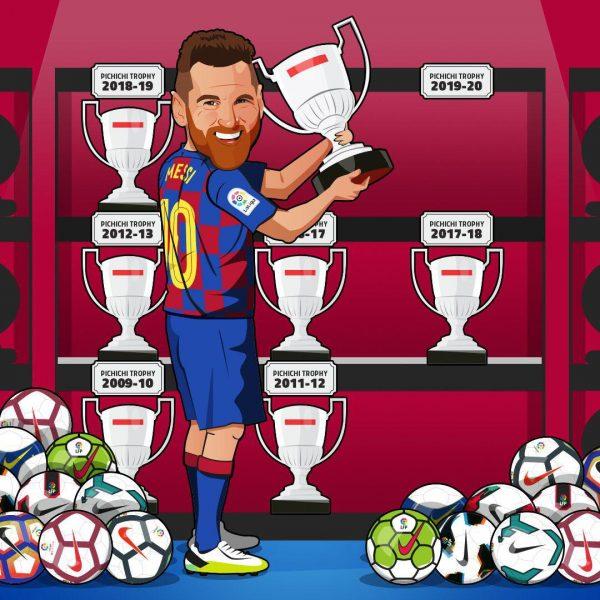 Messi, o único jogador da história sete vezes artilheiro da Liga Espanhola.