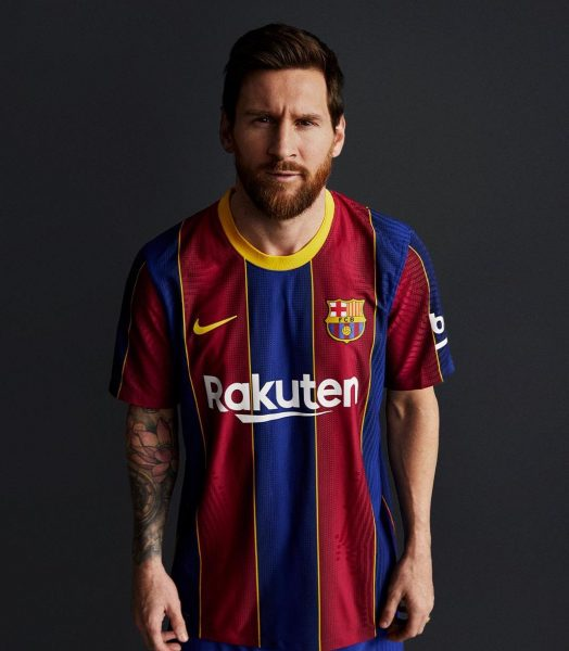 Messi, com a nova camisa do Barça.