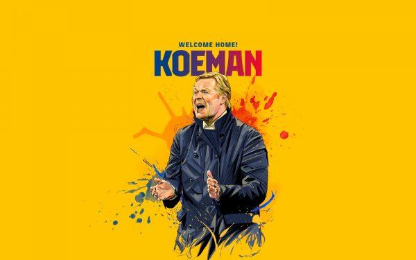 Arte gráfica com a imagem de Ronald Koeman, o novo técnico do Barça.