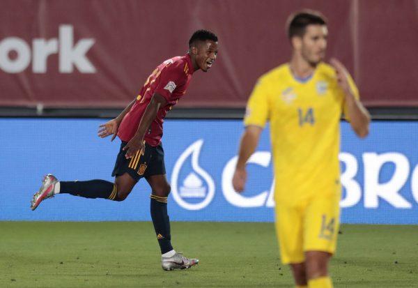 Ansu Fati comemorando o gol marcado contra a Ucrânia.