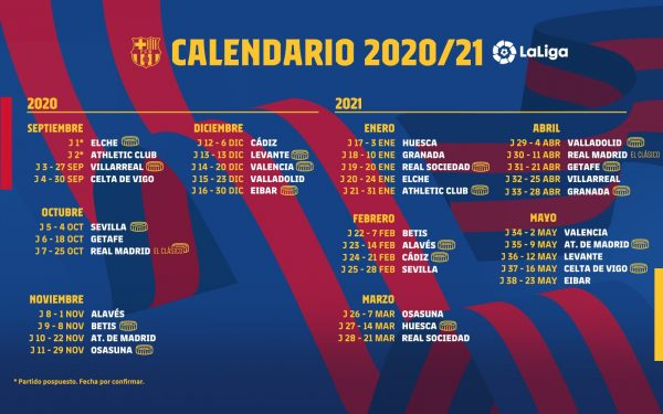 O calendário do Barça na Liga Espanhola 2020/21.