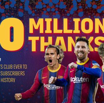 Barça, o primeiro clube a atingir 10 milhões de inscritos no Youtube. / Twitter: @FCBarcelona_br