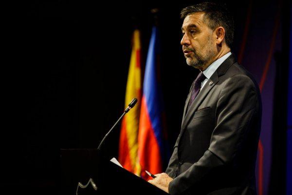Josep Maria Bartomeu durante o pronunciamento no qual anunciou a sua demissão da presidência do Barça.
