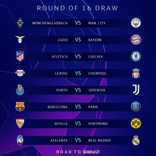 Os duelos das oitavas de final da Champions League / Twitter: @ChampionsLeague