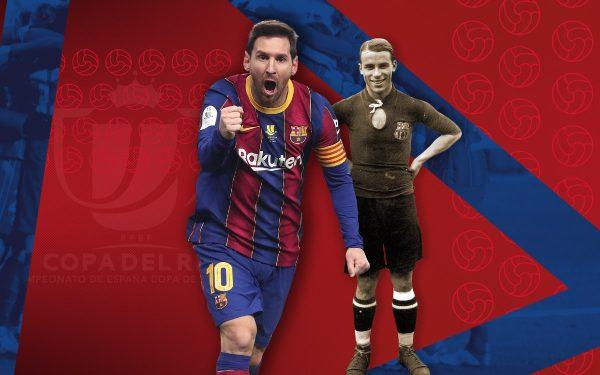 Fotomontagem de Messi e Samitier, primeiro e segundo jogador, respectivamente, com mais jogos na Copa do rei pelo Barça.