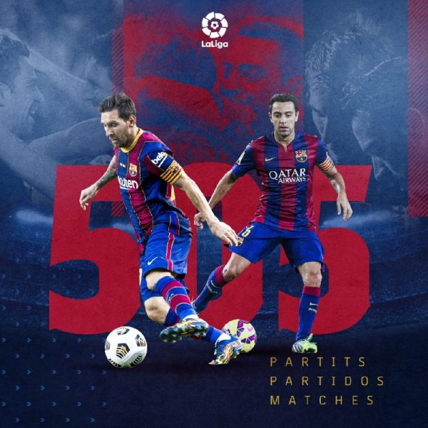 Com 505 partidas disputadas, Messi igualou a marca de Xavi como o jogador do Barça com mais jogos na Liga Espanhola / Twitter: @FCBarcelona_br