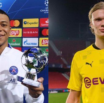 Imagens de Mbappé e Haaland com seus respectivos prêmios de MVP da partida.