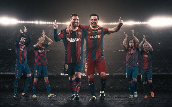 Fotomontagem com as imagens de Messi e Xavi abraçados e outros jogadores históricos atrás aplaudindo a dupla.