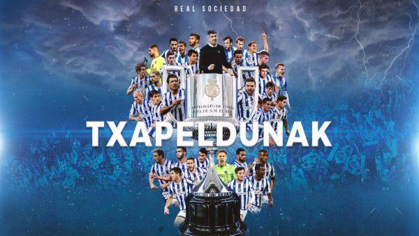 `Txapeldunak´, (Vencedores, em português). A imagem da Real Sociedad para festejar o novo título. / Twitter: @RealSociedad
