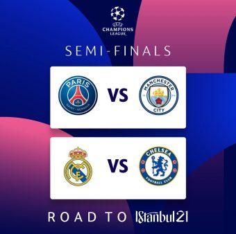 Esses são os duelos das semifinais da Liga dos Campeões 2020/21 / Twitter: @ChampionsLeague