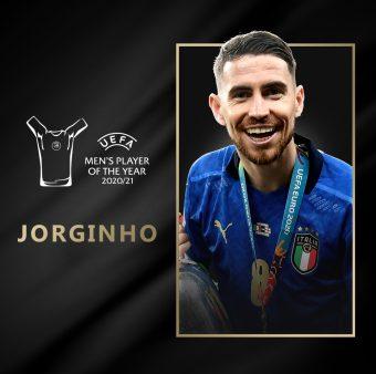 Jorginho, o melhor jogador da Europa na temporada 2020/21. / @Twitter: @Uefacom_pt