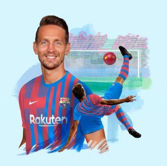 Fotomontagem de Luuk de Jong com a camisa do Barça.