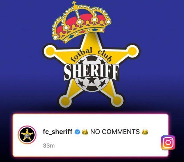 A brincadeira do Sheriff no Instagram após a vitória sobre o Real Madrid.