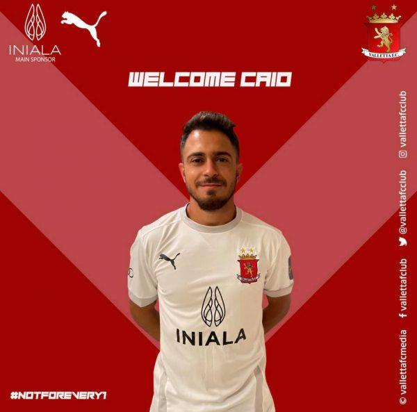 A imagem feita para a apresentação do Caio no Valletta, o clube mais famoso de Malta.